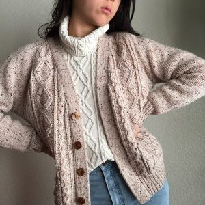 Vintage Speckled Wool Blend Cable Knit Sweater